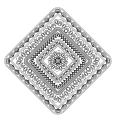 Squared decorative line mandala icon vector