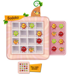Sudoku game fun fruits vector