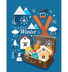 Suitcase with Winter Icons vector