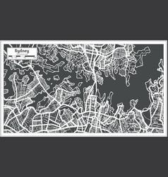Sydney australia city map in retro style outline vector
