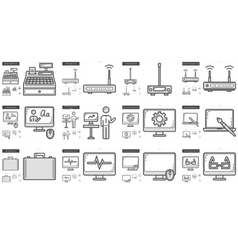 Technology line icon set vector