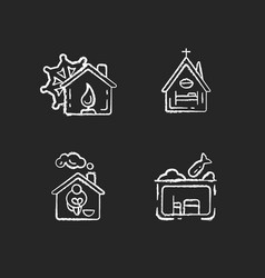 Temporary supportive housing chalk white icons vector