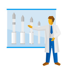 The scientist shows a poster with rockets vector
