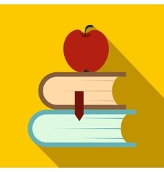 Two books and apple icon flat style vector image