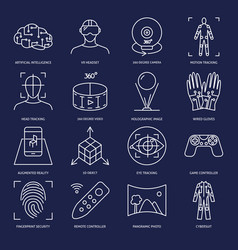 virtual reality icon set in linear style vector image