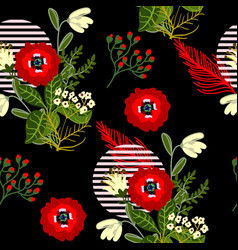 Wild flowers seamless pattern for textile design vector