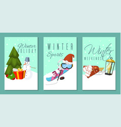 winter holidays and weekends set of banners cards vector image