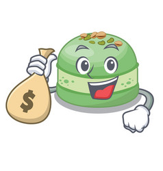 With money bag pistachios cake in saucer vector