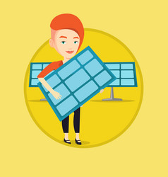woman holding solar panel vector image