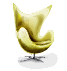 yellow modern chair set watercolor design vector image