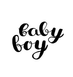 Baby boy brush hand lettering vector