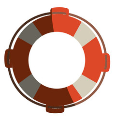 Colorful flotation hoop with rope with half shadow vector