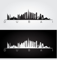 dubai skyline and landmarks silhouette vector image