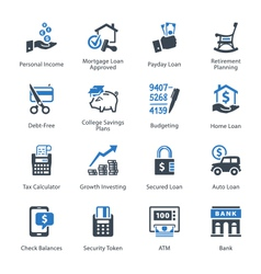 Finance Icons Set 2 - Blue Series vector image