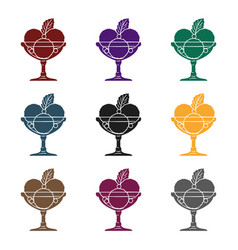 ice cream in the glass bowl icon in black style vector image