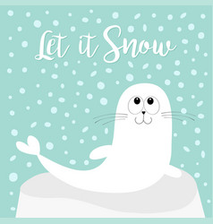 let it snow white sea lion harp seal pup lying on vector image vector image