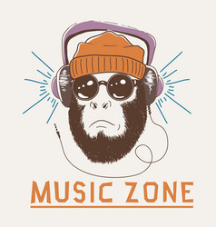 music fan hipster monkey vector image vector image
