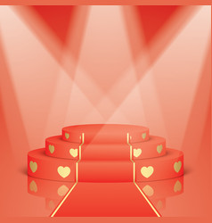 red scene with golden hearts and carpet vector image vector image