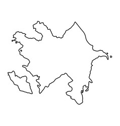 azerbaijan map of black contour curves of vector image vector image