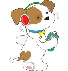 Cute Puppy Headphones vector image vector image