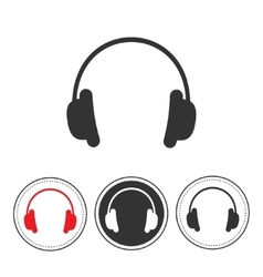 Headphones with line round circle Red black vector image vector image