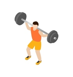 Man lifting barbell icon isometric 3d style vector image vector image