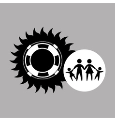 Silhouette family vacation lifebuoy icon vector