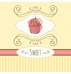 Cupcake hand drawn card with vector image vector image