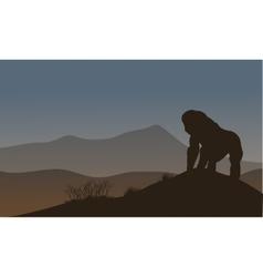 Gorilla silhouette in the hills vector image