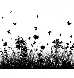 meadow silhouettes vector image vector image