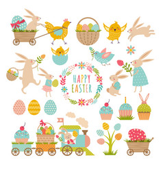 vintage elements set of easter theme rabbits vector image vector image