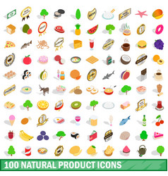 100 natural product icons set isometric 3d style vector image