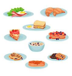 breakfast menu food set acon fried eggs vector image