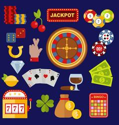 casino gambler game icons poker symbols and vector image