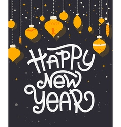 Happy New Year lettering with ornaments Typographi vector image