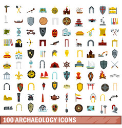 100 archaeology icons set flat style vector