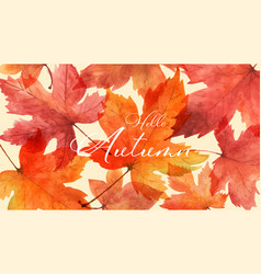Abstract art autumn background with maple leaves vector