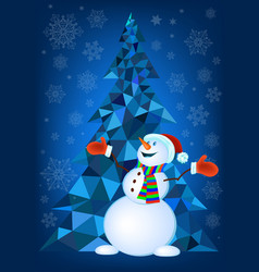 abstract christmas tree and snowman vector image