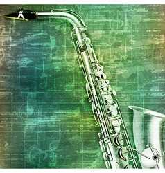 Abstract music grunge vintage background saxophone vector