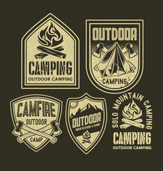 Adventure camping campfire outdoor logo set vector