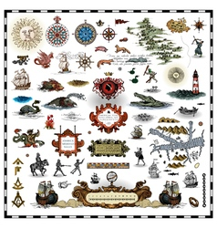 antique map elements vector image