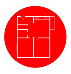 apartment house floor plans white icon in vector image
