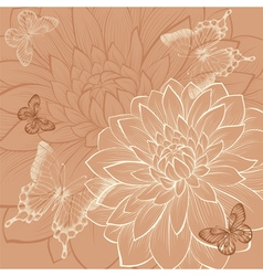 background with flowers dahlia and butterflies vector image