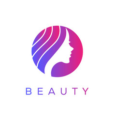 Beautiful womans face with long hair logo design vector