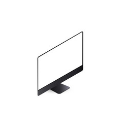 Black computer monitor isometric mockup isolated vector