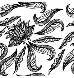Black white seamless pattern with lotus Boho vector