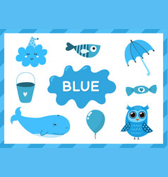 Blue educational worksheet for kids learning the vector