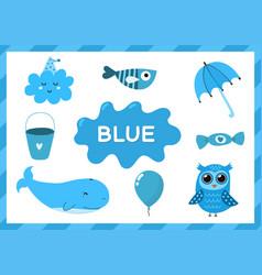 Blue educational worksheet for kids learning vector
