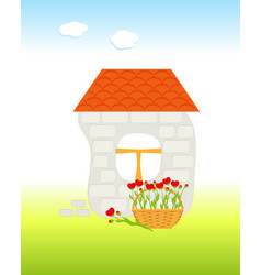 Brick house with tiled roand basket vector