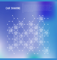 Car sharing concept in honeycombs vector
